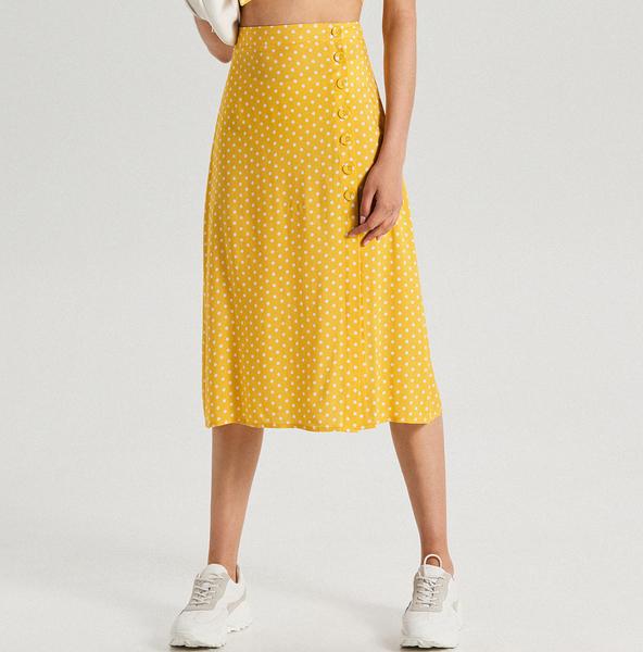 Żółta spódnica Cropp midi w stylu casual