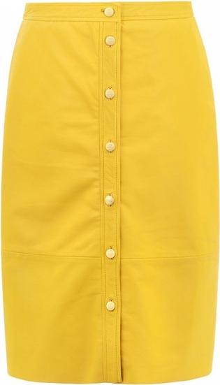 a1f90205d53d7 Żółta spódnica ochnik midi w rockowym stylu