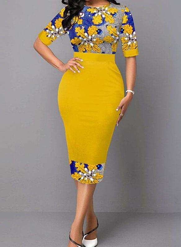Żółta sukienka Arilook z krótkim rękawem z okrągłym dekoltem