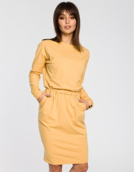 Żółta sukienka Be w stylu casual