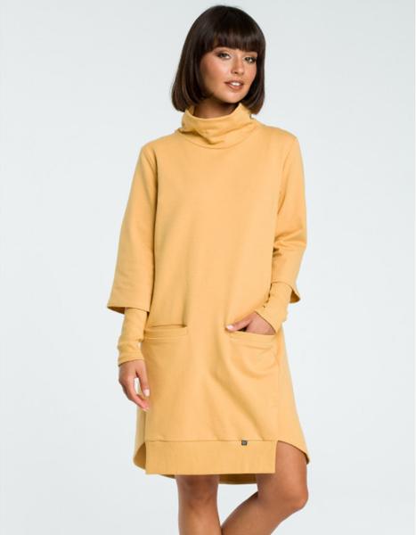 Żółta sukienka Be z długim rękawem mini