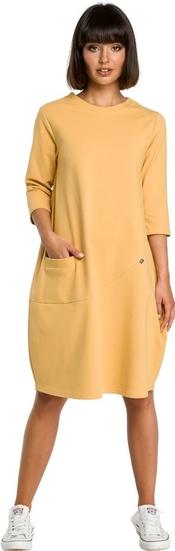 Żółta sukienka Be z dzianiny z długim rękawem