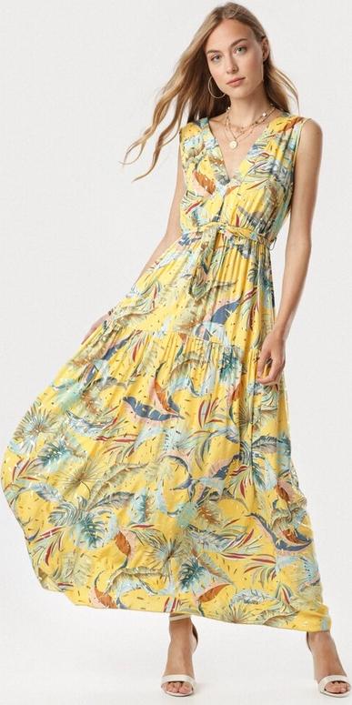 Żółta sukienka born2be trapezowa maxi bez rękawów