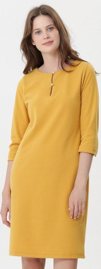 Żółta sukienka born2be w stylu casual z długim rękawem z okrągłym dekoltem