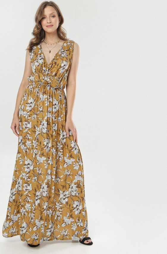 Żółta sukienka born2be z dekoltem w kształcie litery v bez rękawów maxi