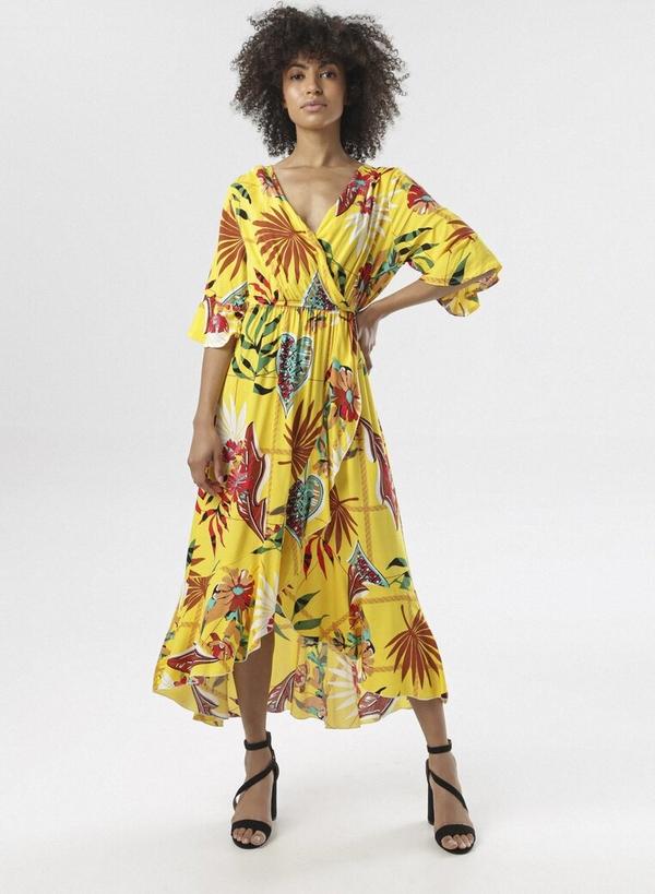 Żółta sukienka born2be z długim rękawem z dekoltem w kształcie litery v maxi