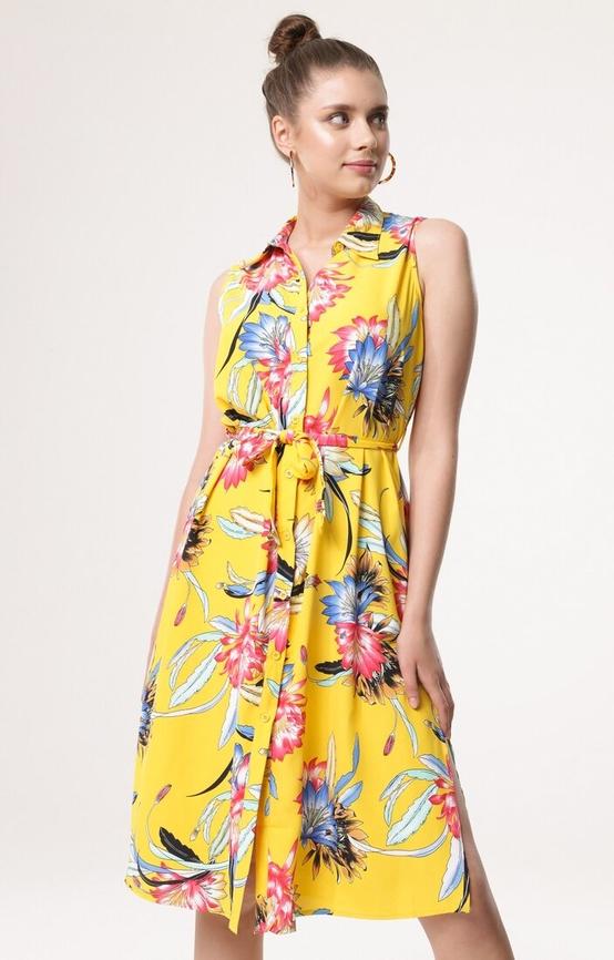 Żółta sukienka born2be z kołnierzykiem bez rękawów