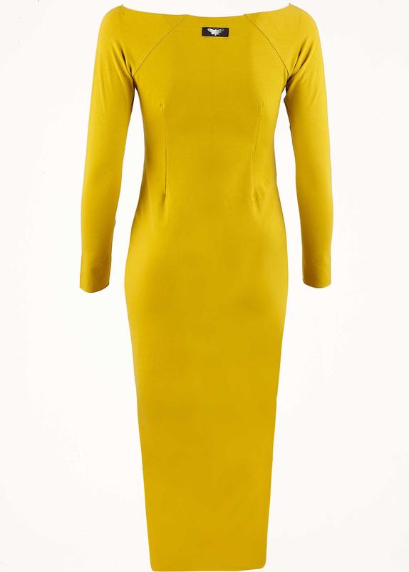 Żółta sukienka Byinsomnia z długim rękawem