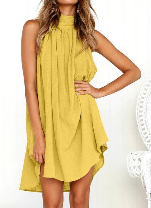 Żółta sukienka Cikelly bez rękawów