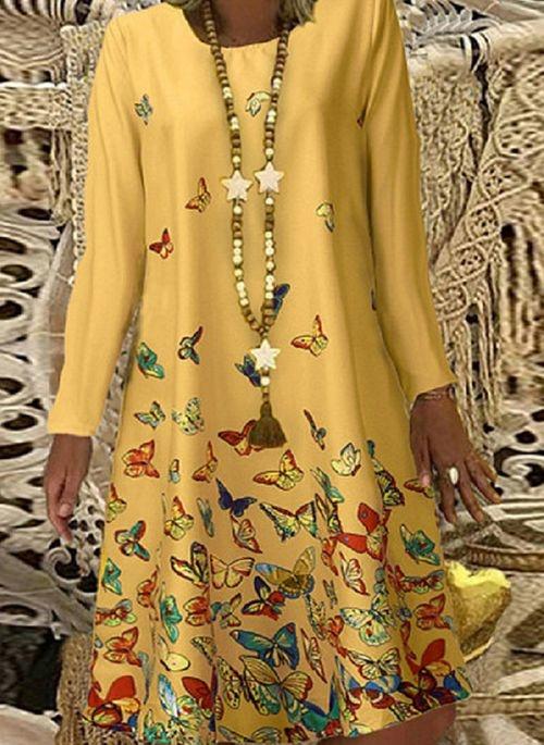 Żółta sukienka Cikelly mini z okrągłym dekoltem w stylu casual