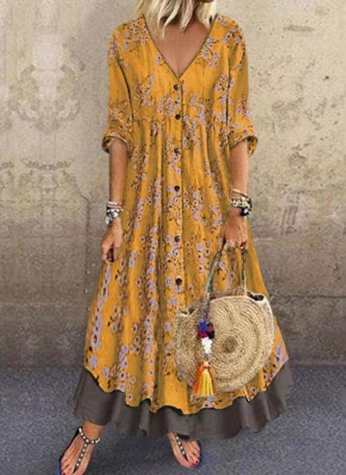 Żółta sukienka Cikelly z dekoltem w kształcie litery v maxi z długim rękawem