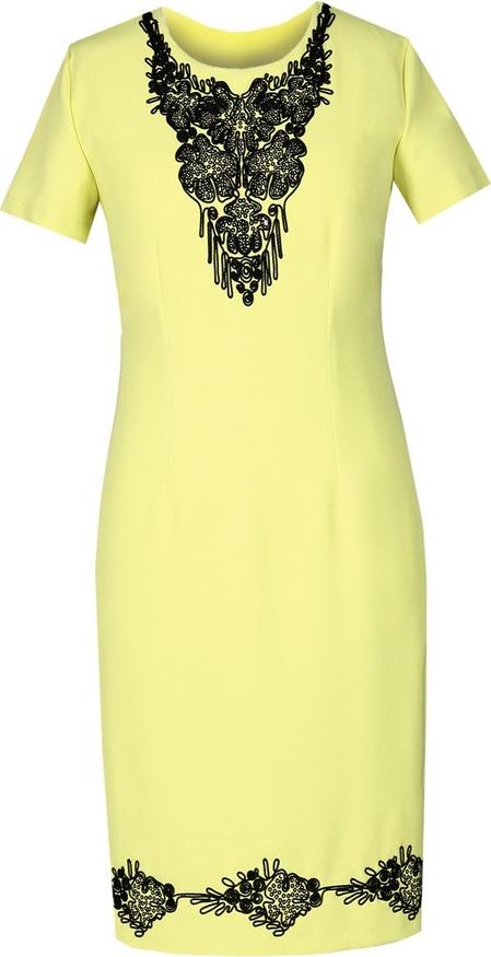 Żółta sukienka Fokus z krótkim rękawem z okrągłym dekoltem dopasowana