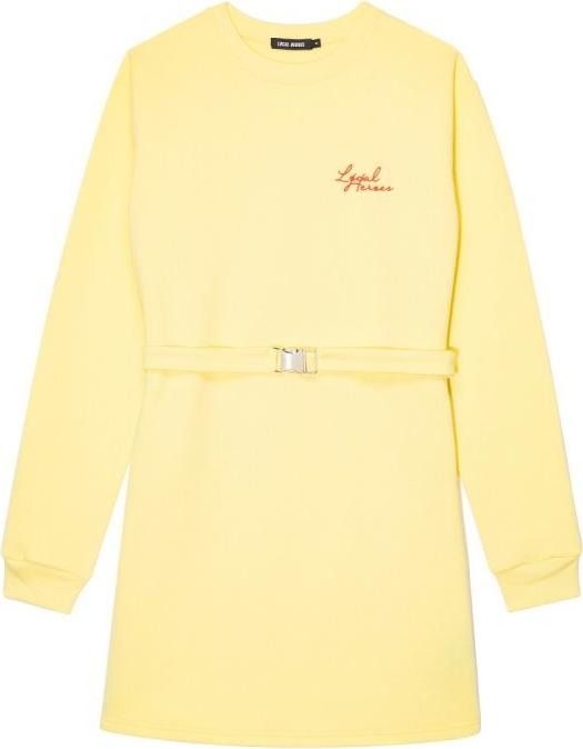 Żółta sukienka LOCAL HEROES z długim rękawem z okrągłym dekoltem mini