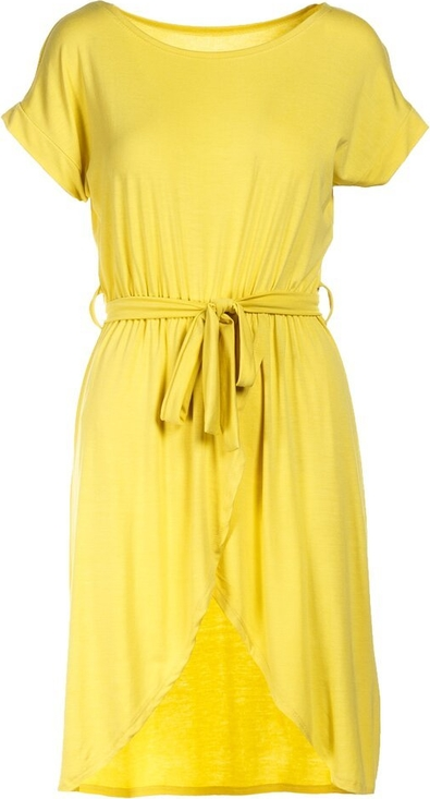 Żółta sukienka Multu z krótkim rękawem