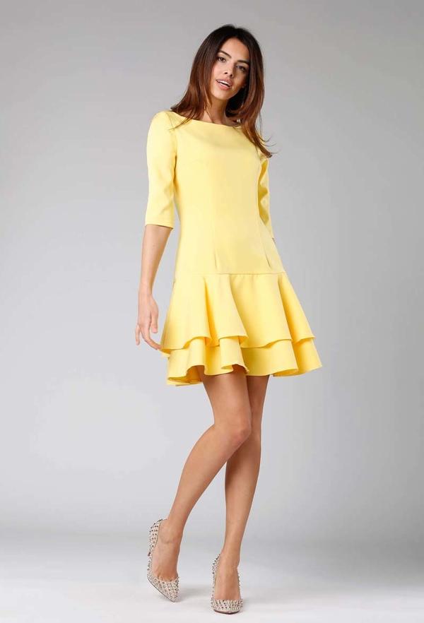 Żółta sukienka Nommo z długim rękawem mini