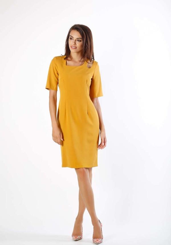 Żółta sukienka Nommo z krótkim rękawem