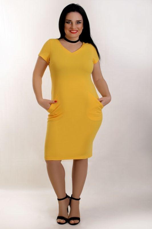 Żółta sukienka Oscar Fashion midi z dzianiny