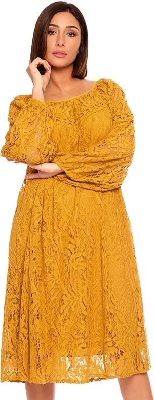 Żółta sukienka Plus Size Fashion oversize z okrągłym dekoltem z długim rękawem