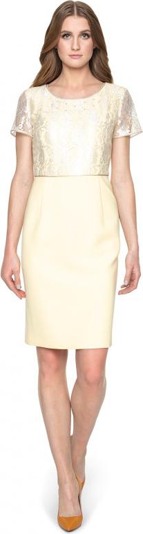 Żółta sukienka POTIS & VERSO z krótkim rękawem
