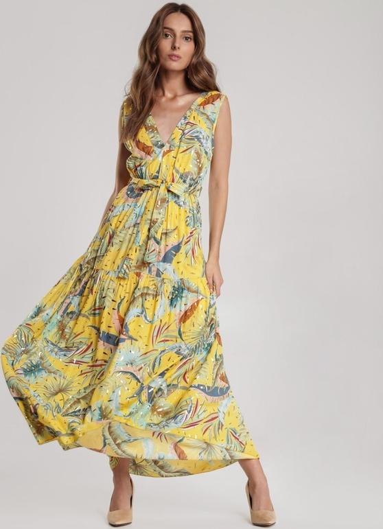 Żółta sukienka Renee maxi bez rękawów z dekoltem w kształcie litery v