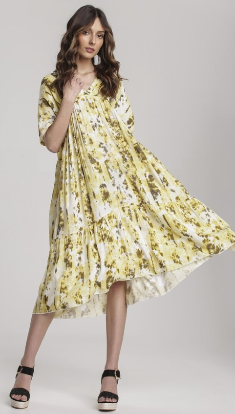 Żółta sukienka Renee z dekoltem w kształcie litery v