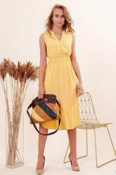 Żółta sukienka Royalfashion.pl z dekoltem w kształcie litery v