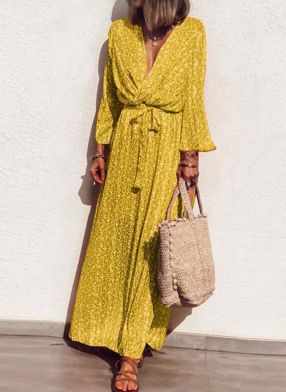 Żółta sukienka Sandbella maxi z długim rękawem