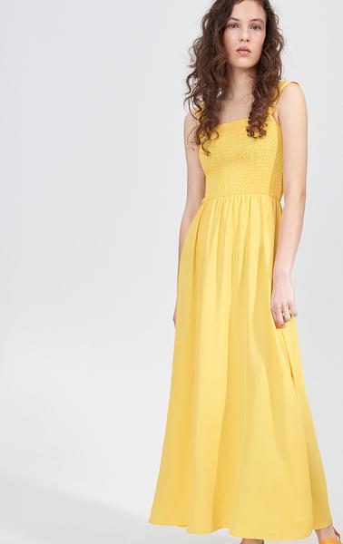 Żółta sukienka Sinsay z okrągłym dekoltem