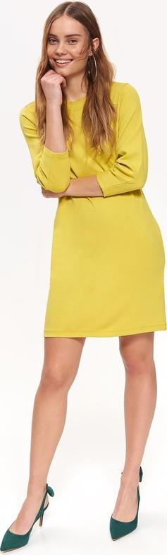 Żółta sukienka Top Secret mini z okrągłym dekoltem w stylu casual
