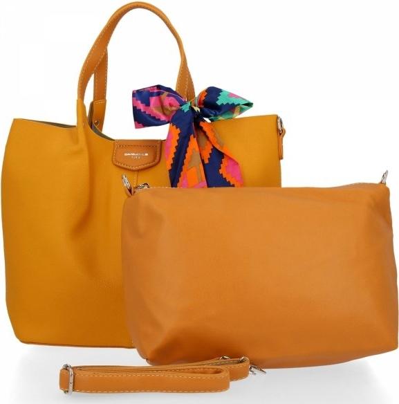 Żółta torebka David Jones ze skóry ekologicznej duża w wakacyjnym stylu