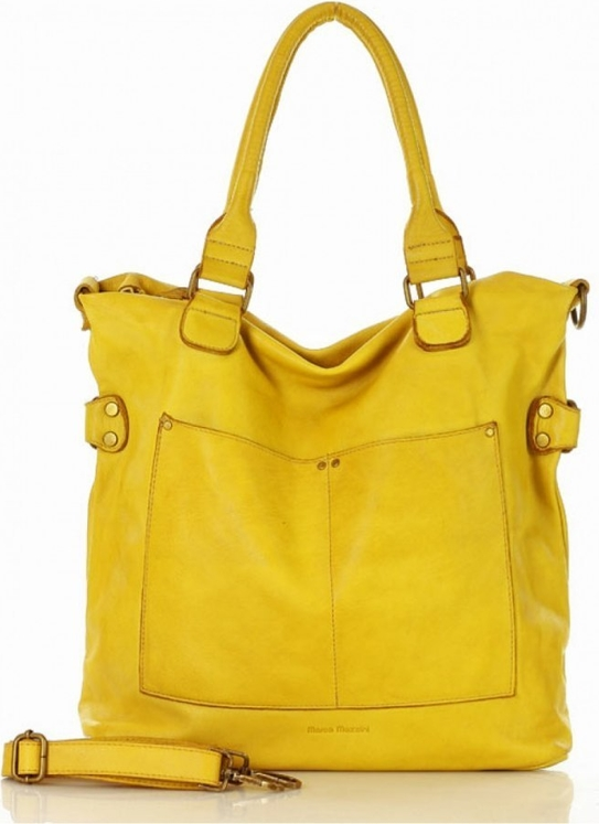 Żółta torebka MAZZINI w wakacyjnym stylu ze skóry
