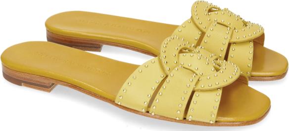 Żółte klapki Melvin & Hamilton z płaską podeszwą w stylu klasycznym