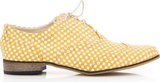 Żółte półbuty Zapato ze skóry sznurowane z płaską podeszwą