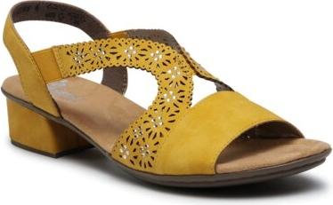 Żółte sandały Rieker na niskim obcasie na obcasie