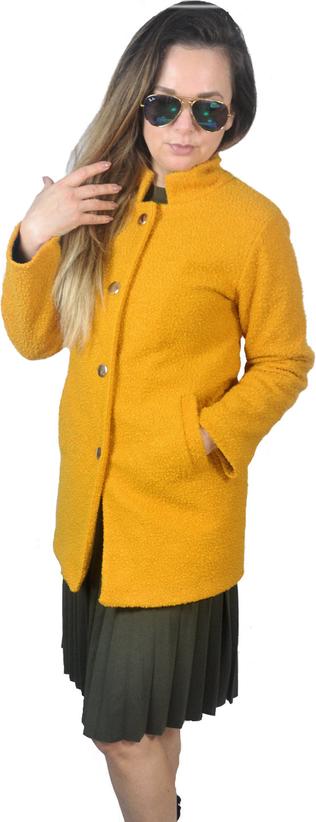 Żółty płaszcz hitdnia.com.pl w stylu casual z wełny