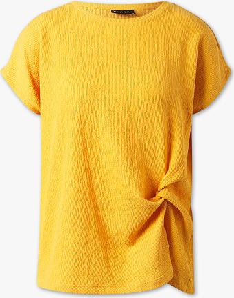 Żółty t-shirt CANDA z okrągłym dekoltem z krótkim rękawem