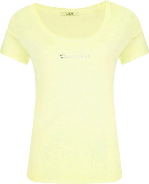 Żółty t-shirt Guess Jeans z okrągłym dekoltem w stylu casual