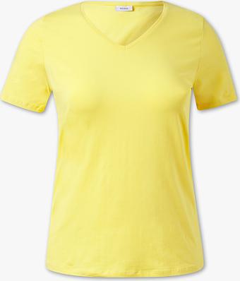 Żółty t-shirt YESSICA w stylu casual z dekoltem w kształcie litery v