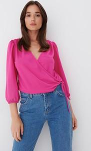 Różowa bluzka Mohito z długim rękawem w stylu casual