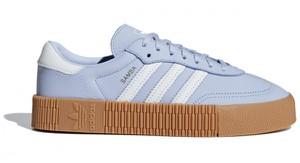 Niebieskie trampki Adidas sznurowane ze skóry