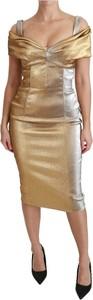 Złota sukienka Dolce & Gabbana midi z krótkim rękawem