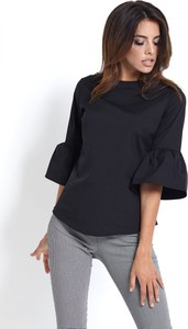 Czarna bluzka Ivon z bawełny z okrągłym dekoltem z krótkim rękawem