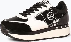 69ae41c85eee1 Czarne buty sportowe Guess Jeans w młodzieżowym stylu sznurowane z tkaniny