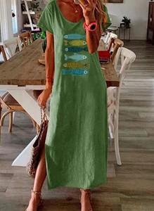 Zielona sukienka Cikelly z krótkim rękawem
