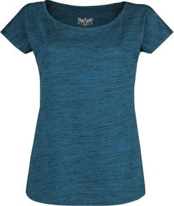 Niebieski t-shirt Emp z bawełny z okrągłym dekoltem