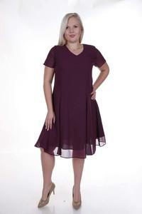 Fioletowa sukienka Fokus dla puszystych z dekoltem w kształcie litery v z szyfonu