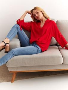 Czerwona bluzka Top Secret z długim rękawem