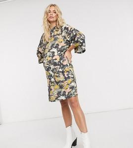 Mama Licious Mamalicious Maternity – Sukienka mini z golfem i abstrakcyjnym wzorem-Wielokolorowy