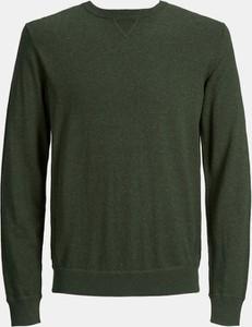 Zielony sweter Jack & Jones z kaszmiru z okrągłym dekoltem w stylu casual