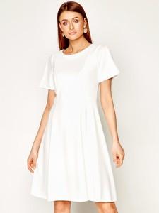 Sukienka DKNY z krótkim rękawem z okrągłym dekoltem rozkloszowana